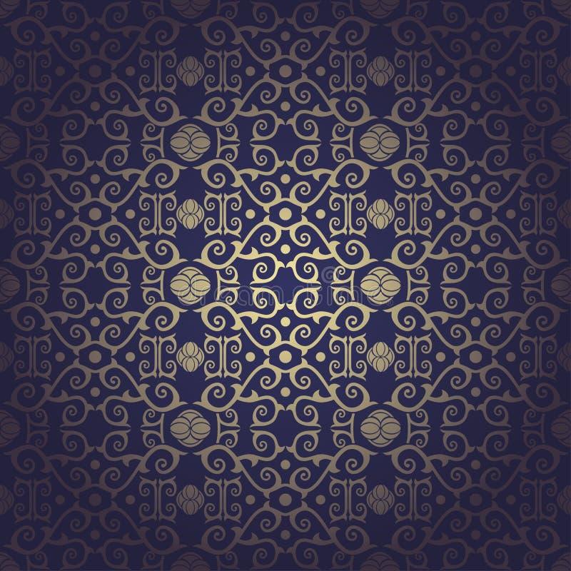 Nahtloser barocker blauer mit Blumenhintergrund vektor abbildung