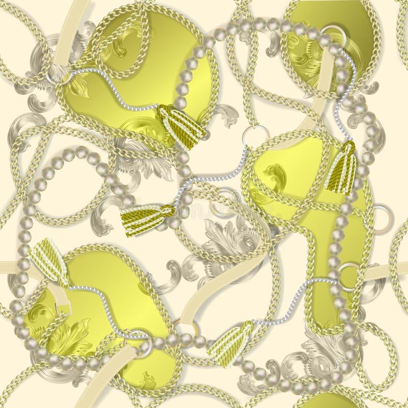 Nahtloser barocker Druck mit goldenen realistischen Ketten, Borte, Perlen, Gurte, barocke elments für Gewebeentwurf lizenzfreie abbildung