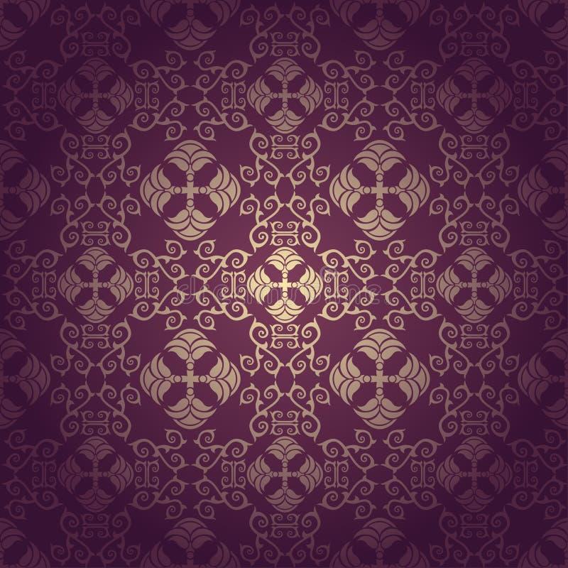 Nahtloser barocker purpurroter mit Blumenhintergrund lizenzfreie abbildung