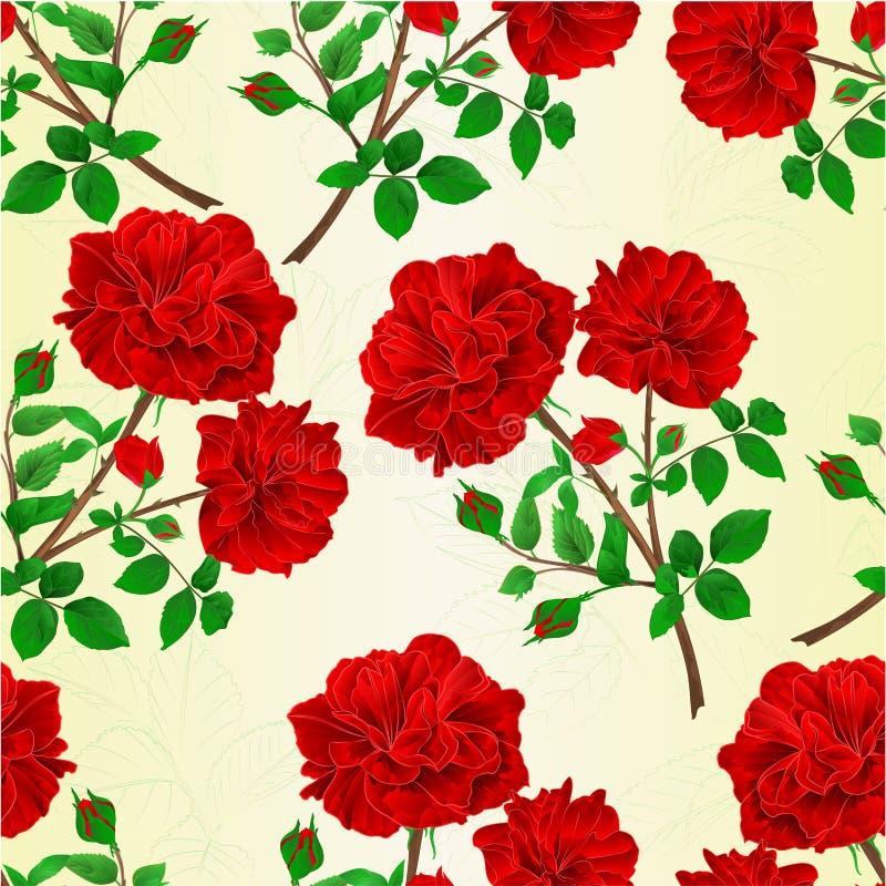 Nahtloser Beschaffenheitsblumenstrauß der festlichen Hintergrundweinlese der roten Rosen und der Rosebuds vector botanische Illus vektor abbildung