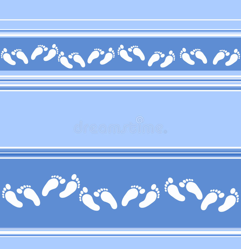 Nahtloser blauer gestreifter Hintergrund mit zerstreutem Fußdekor stock abbildung