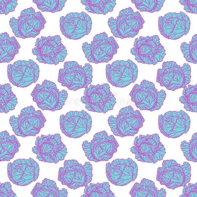 Nahtloser blauer und purpurroter Kohl vektor abbildung