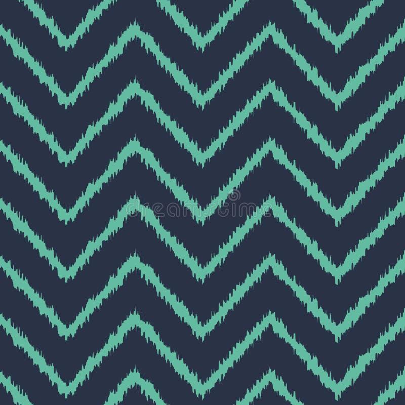 Nahtloser blauer Zickzack ikat Musterneonvektor lizenzfreie abbildung