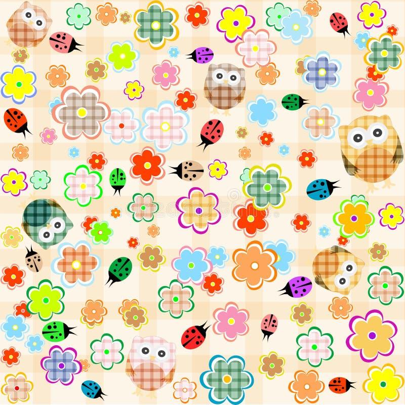 Nahtloser Blumen- und Eulenhintergrund. vektormuster lizenzfreie abbildung
