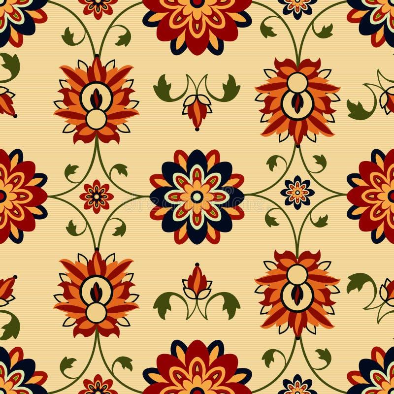 Nahtloser Blumendamast lizenzfreie abbildung