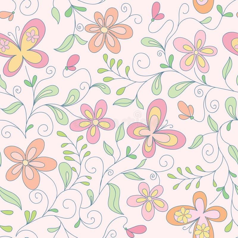 Nahtloser Blumenhintergrund mit Basisrecheneinheit lizenzfreie abbildung