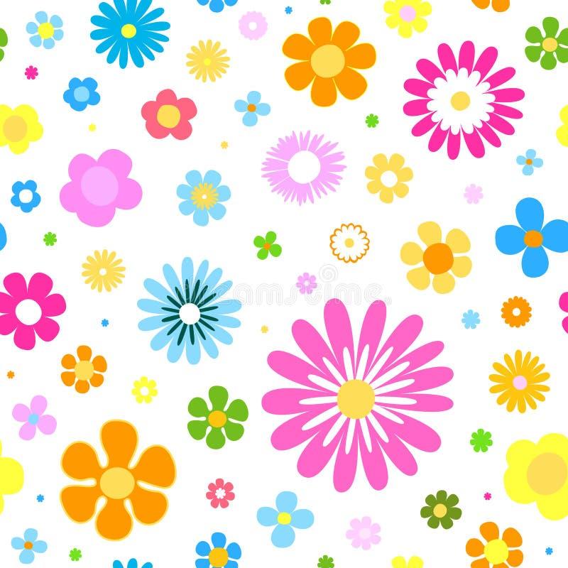 Nahtloser Blumenhintergrund Mit Vibrierenden Farben Vektor Abbildung ...