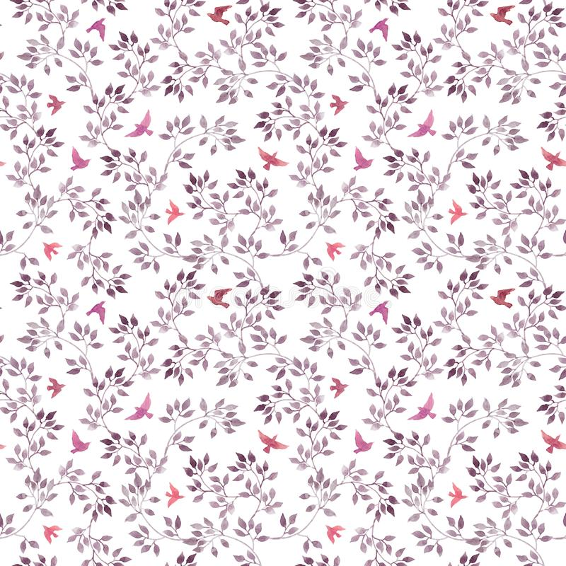Nahtloser Blumenhintergrund - nette Blumen, Blätter und Fliegenvögel Handgemalte Kunst des Aquarells stock abbildung