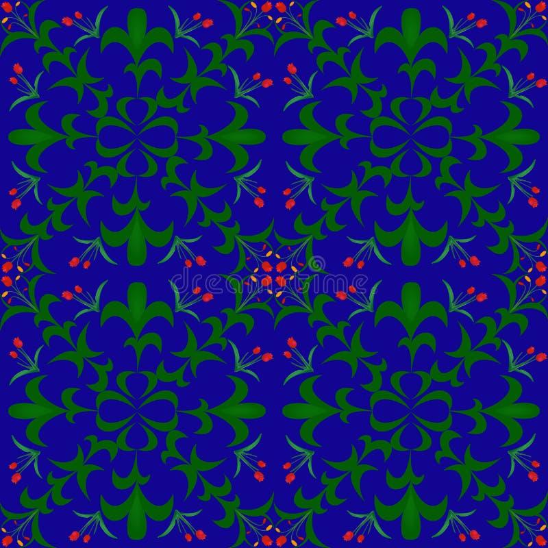 Nahtloser Blumenhintergrund rote Blumen und Blätter gezeichnetes Aquarell auf blauem Hintergrund Auch im corel abgehobenen Betrag lizenzfreie abbildung