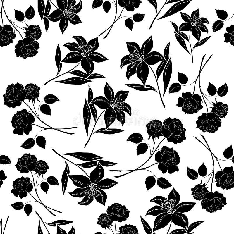 Nahtloser Blumenhintergrund, schwarze Schattenbilder vektor abbildung