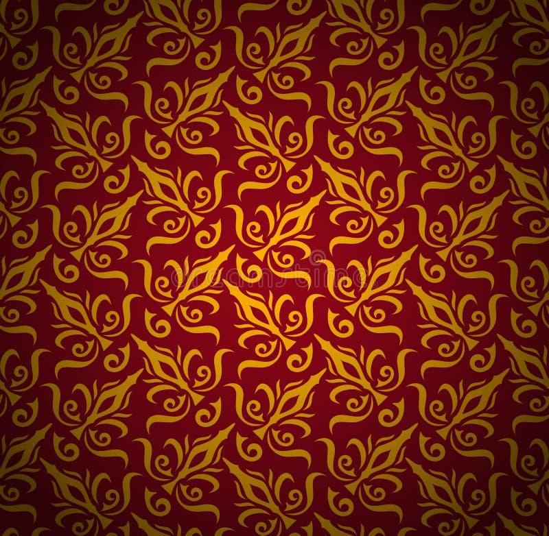 Nahtloser Blumenmusterhintergrund. Königliche Artluxustapete des Damastes vektor abbildung