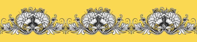 Nahtloser Blumenrand Blumenrahmengestaltungselement Stilisiertes VE lizenzfreie abbildung