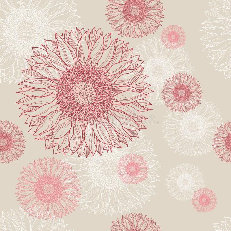 nahtloser Blumenweinlesehintergrund   lizenzfreie abbildung