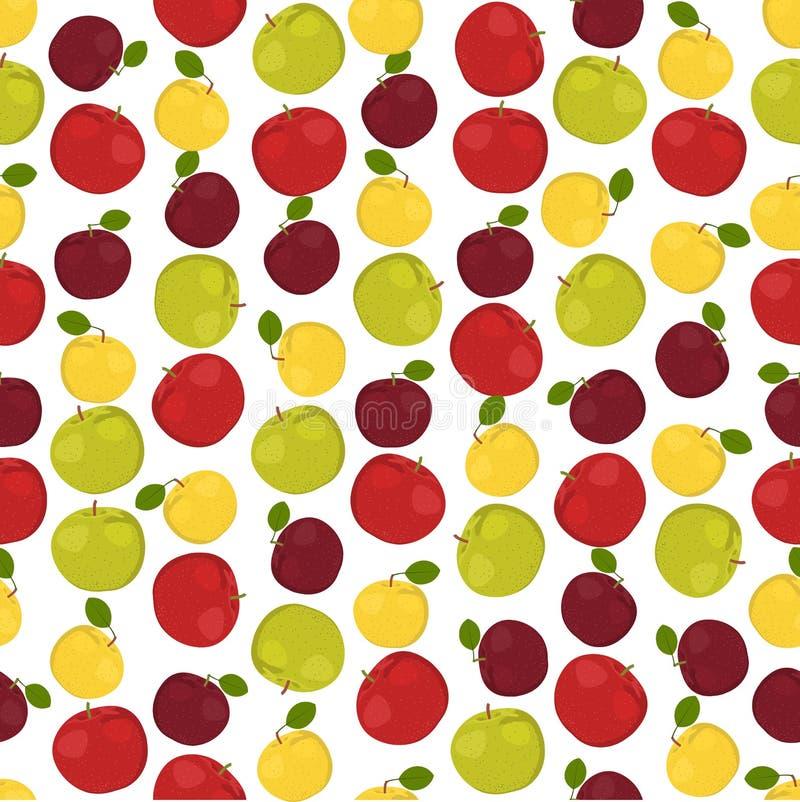 Nahtloser bunter Hintergrund herein gemacht von der unterschiedlichen Art von Äpfeln lizenzfreie abbildung