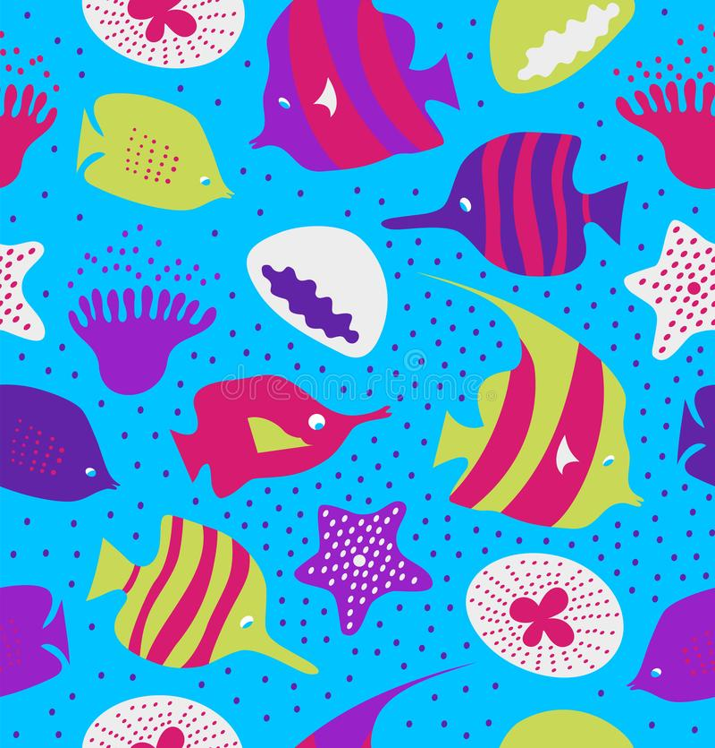 Nahtloser bunter Hintergrund mit netten Fischen, Quallen Marinebeschaffenheit, Muster mit Meerestieren, Korallenriffe vektor abbildung