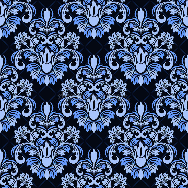 Nahtloser Damast Blumenmuster auf geometrischem Hintergrund stock abbildung