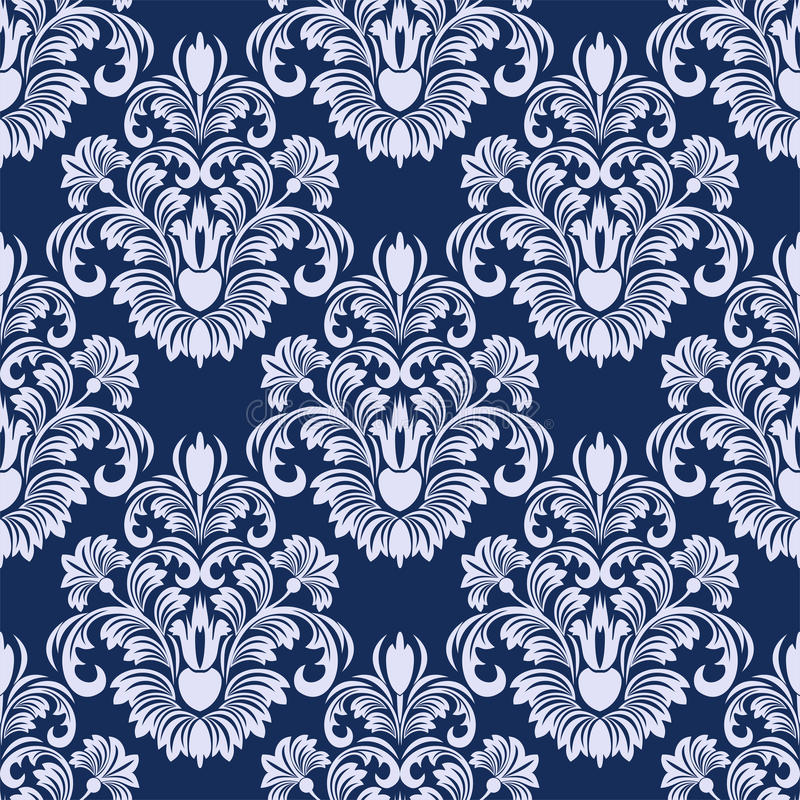 Nahtloser Damast Blumenmuster in den blauen Farben lizenzfreie abbildung