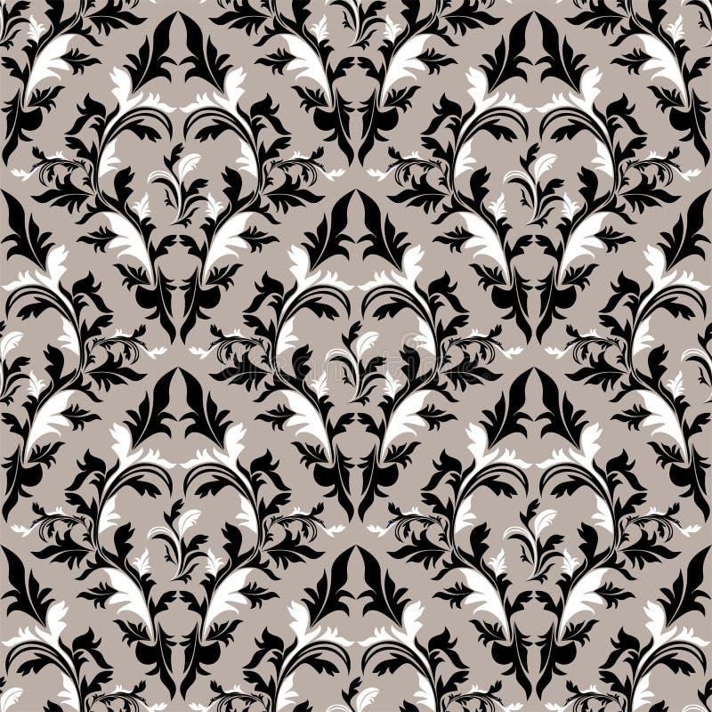 Nahtloser Damast Blumentapeten-- schwarze, graue und weiße Farben stock abbildung