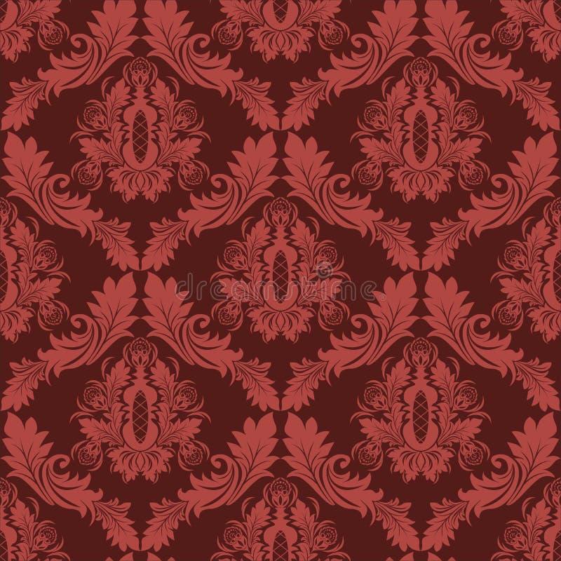 Nahtloser Damast Retro- Tapete in den roten Farben vektor abbildung