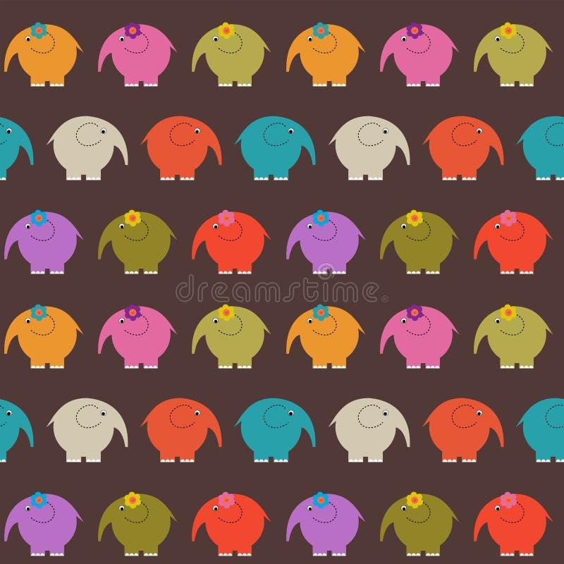 Nahtloser dekorativer Hintergrund von mehrfarbigen netten Elefanten stock abbildung