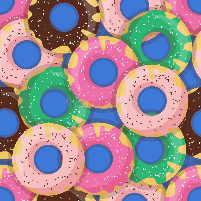Nahtloser Donut des Vektors oder Donutmuster Entwerfen Sie für Karten, Menü, Gewebe, Gewebe stock abbildung
