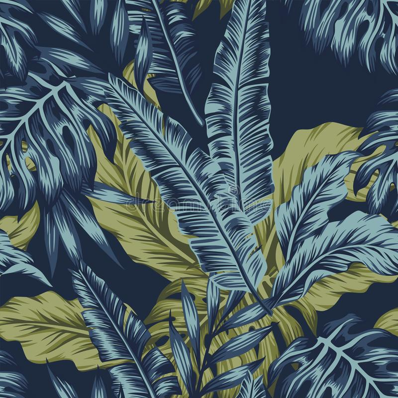 Nahtloser dunkelblauer Hintergrund des tropischen Blattgrüns vektor abbildung