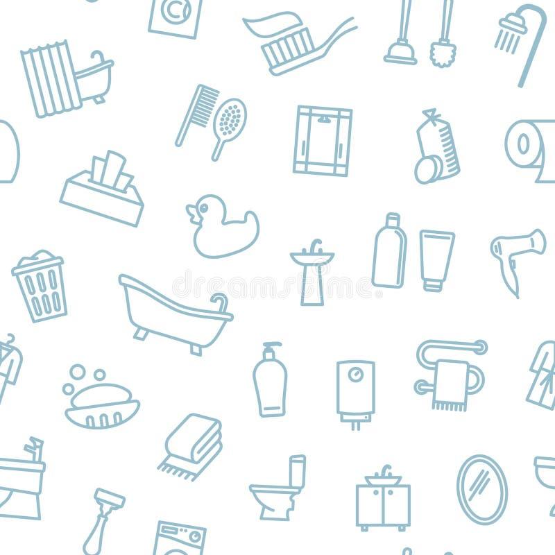 Nahtloser einfarbiger Hintergrund mit linearen Badezimmersymbolen stock abbildung