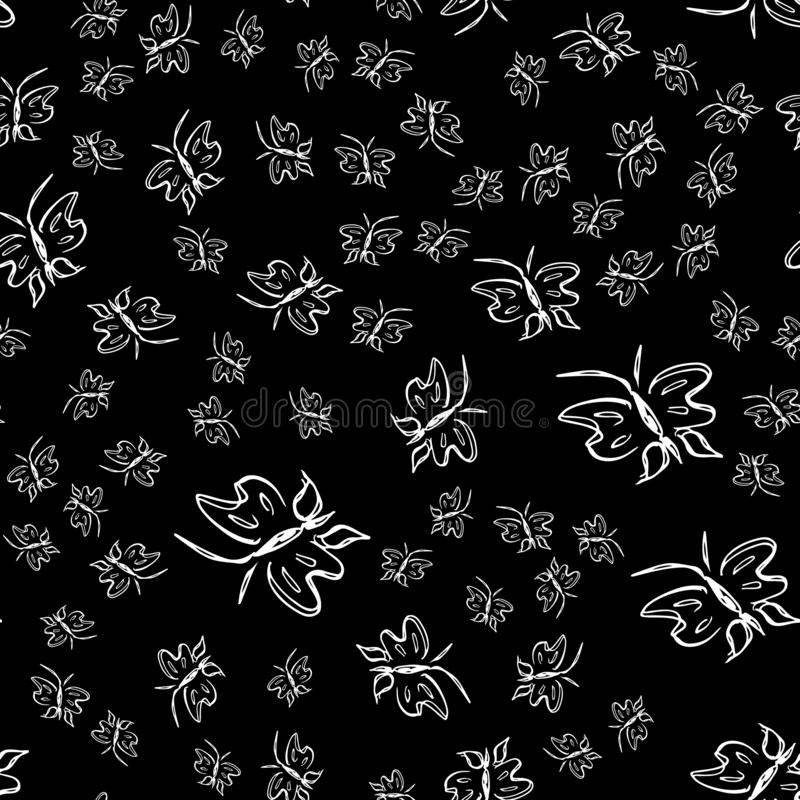Nahtloser Entwurfsvektor des Schmetterlinges in der Linie Kunstart auf schwarzem Hintergrund Linie Kunstschmetterling Hand gezeic stock abbildung