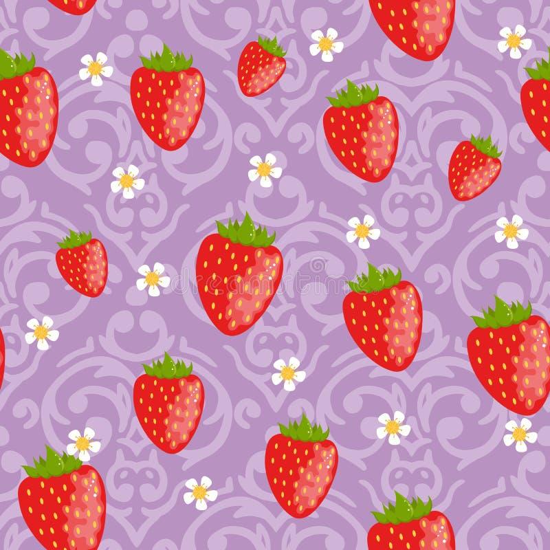 Nahtloser Erdbeerhintergrund lizenzfreie abbildung