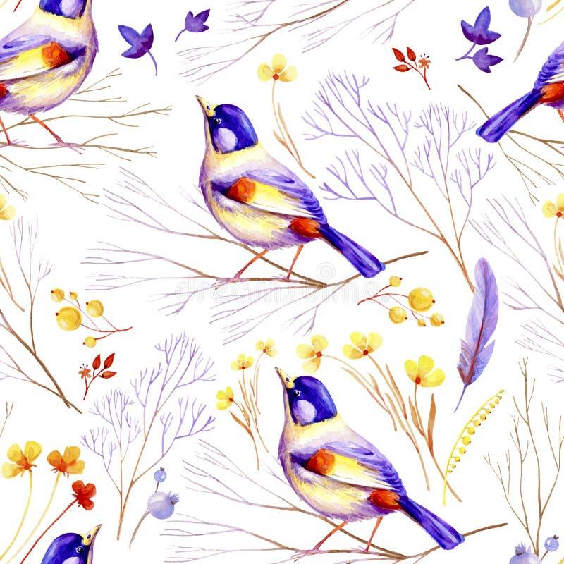 Nahtloser Flieder-gelber Vogel vektor abbildung