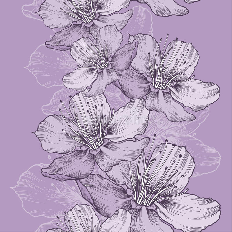 Nahtloser Frühlingshintergrund mit Blumen des Apfels, Handzeichnung lizenzfreie abbildung