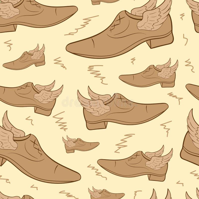Nahtloser geflügelter männlicher Schuh stock abbildung