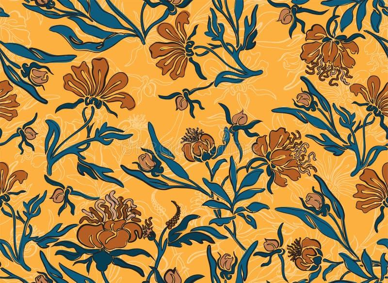 Nahtloser gelber Blumenhintergrund lizenzfreies stockfoto