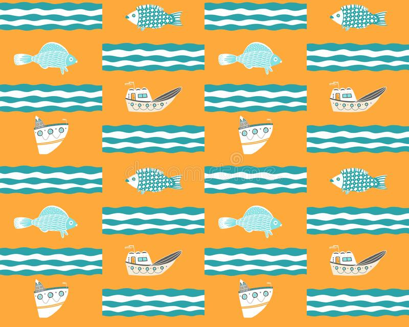 Nahtloser gelber Hintergrund mit Schiffen, Fischen und Wellen stock abbildung