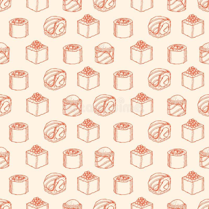 Nahtloser gelber Hintergrund mit Skizzensushi stock abbildung