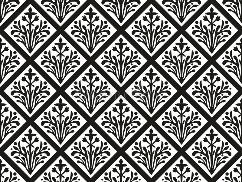 Nahtloser geometrischer gotischer vektorblumenverzierung stock abbildung