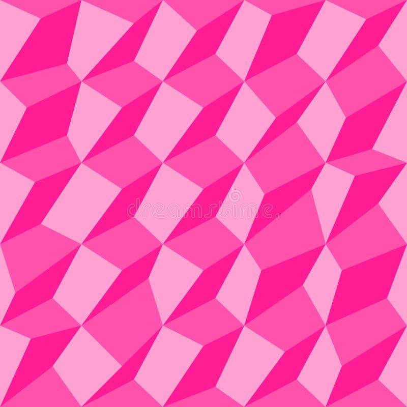 Nahtloser geometrischer Hintergrund mit Würfeln Rosa nahtloses Muster 3d von unregelmäßigen Würfeln vektor abbildung