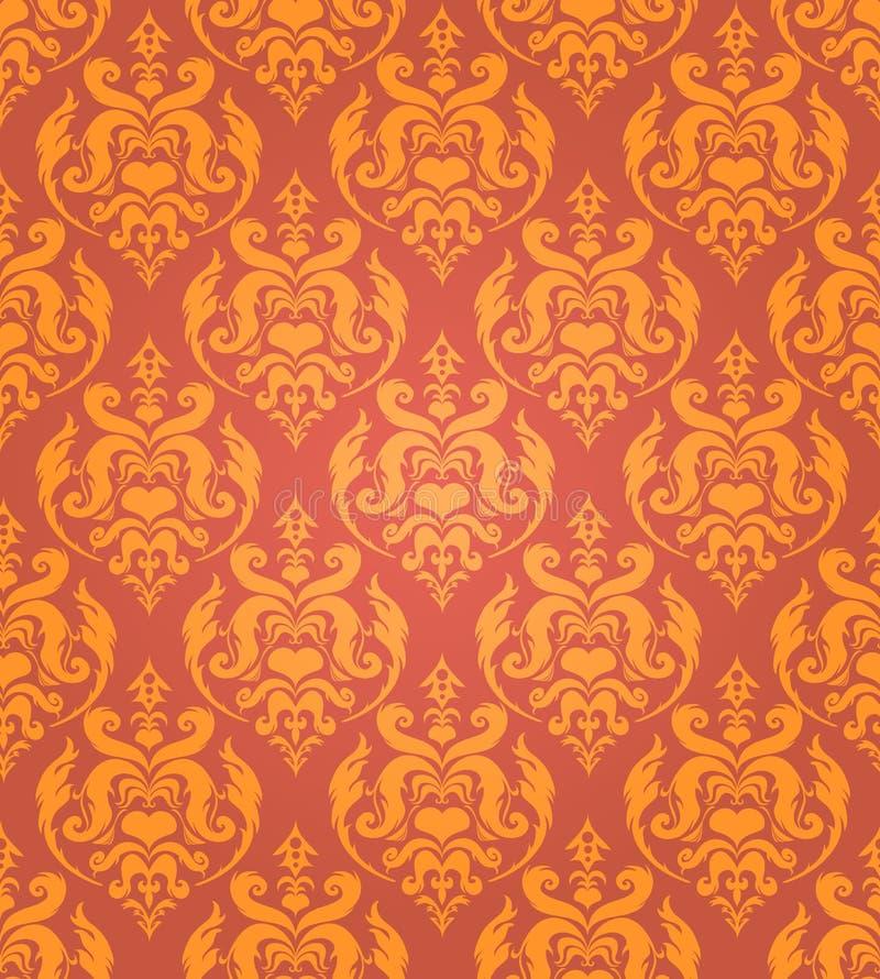 Nahtloser goldener Damasthintergrund vektor abbildung