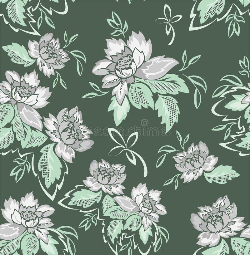 Nahtloser grüner Hintergrund mit grauen Blumen lizenzfreie stockbilder