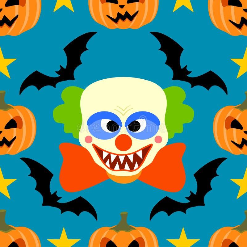 Nahtloser Halloween-Hintergrund mit Clown vektor abbildung