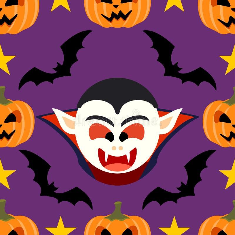 Nahtloser Halloween-Hintergrund mit Dracula vektor abbildung