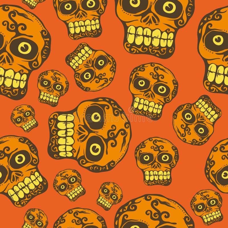 Nahtloser Halloween-Schädel stock abbildung