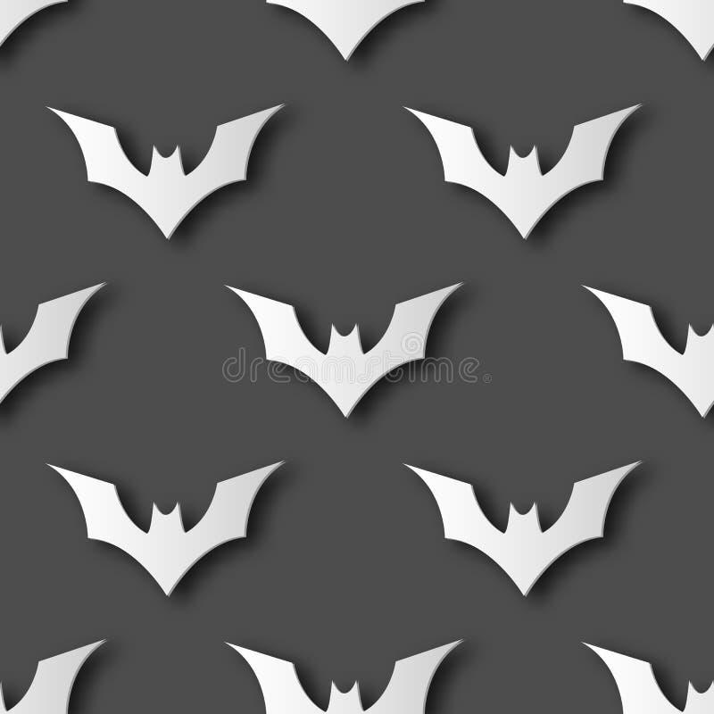 Nahtloser Halloween-Schlägerpapierkunst-Musterhintergrund Graue Farbe für glücklichen Halloween-Tag Karten- und Geschenkverpackun stock abbildung