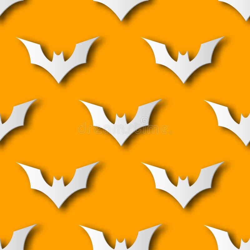 Nahtloser Halloween-Schlägerpapierkunst-Musterhintergrund Orange Farbe für glücklichen Halloween-Tag die Karten- und Geschenkverp stock abbildung