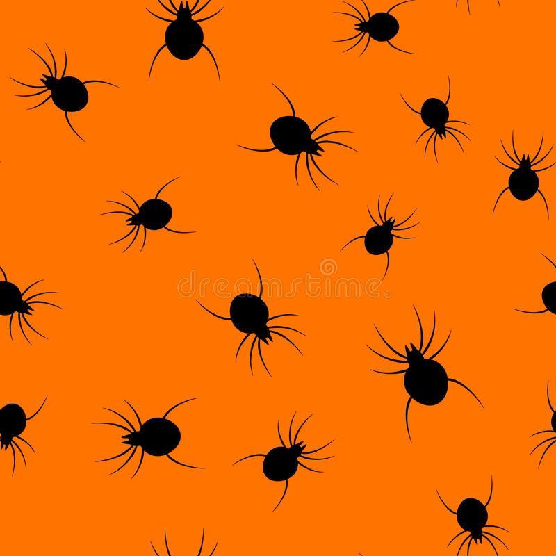 Nahtloser Halloween-Spinnenpapierkunst-Musterhintergrund Orange Farbe für glücklichen Halloween-Tag die Karten- und Geschenkverpa stock abbildung