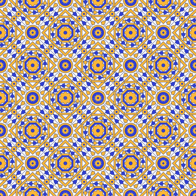 Nahtloser Hintergrund Achteckblumen-Kaleidoskopmusters des Weinlesequadratkreuzes des runden lizenzfreie abbildung