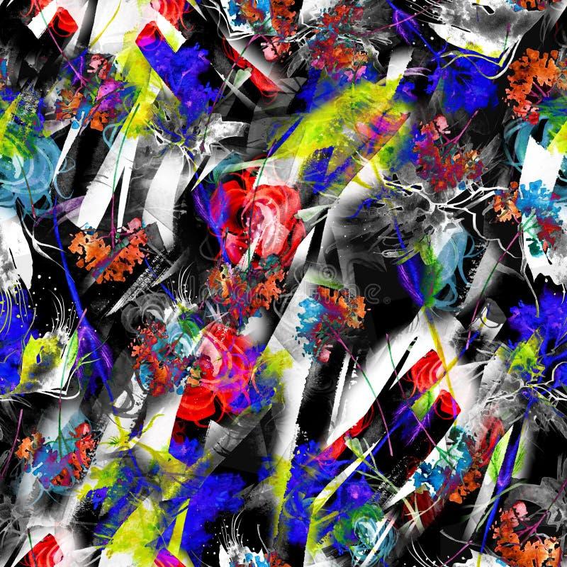 Nahtloser Hintergrund der Aquarellzusammenfassung, Karte, Muster, Stelle, Spritzen der Farbe, Fleck, Scheidung Abstraktes Blumens vektor abbildung