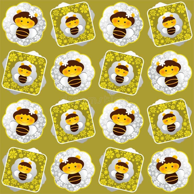 Nahtloser Hintergrund der Bienen und der Blumen vektor abbildung