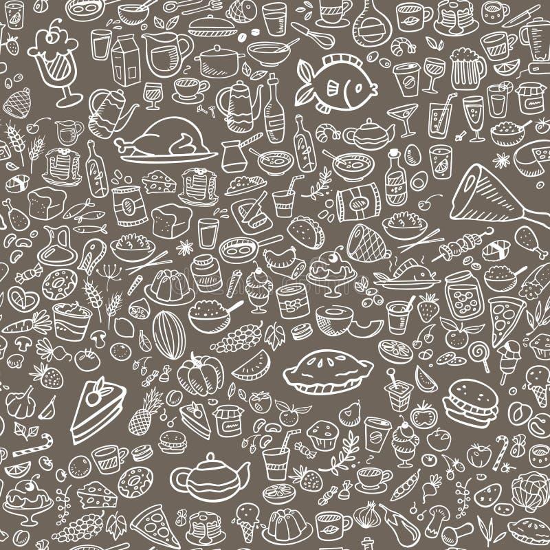 Nahtloser Hintergrund der Gekritzellebensmittel-Ikonen lizenzfreie abbildung