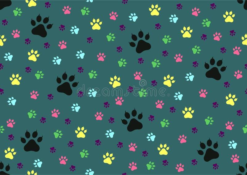 Nahtloser Hintergrund der Katzenpfotenabdrücke lizenzfreie abbildung
